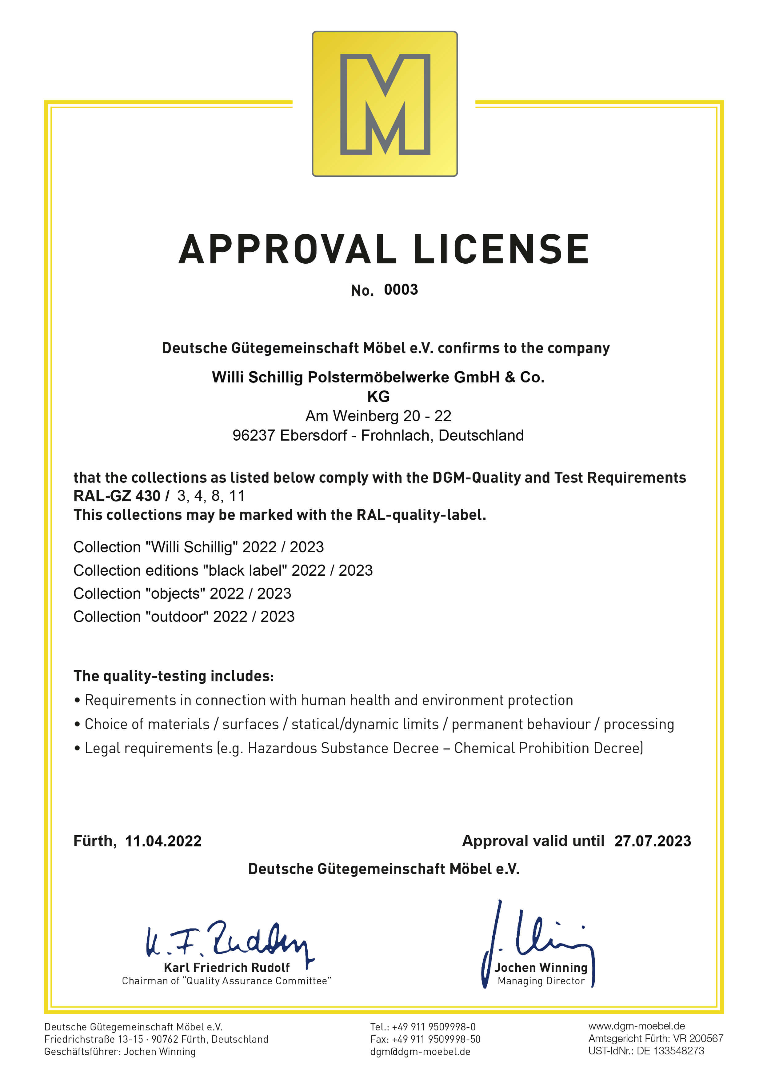 Approval License
