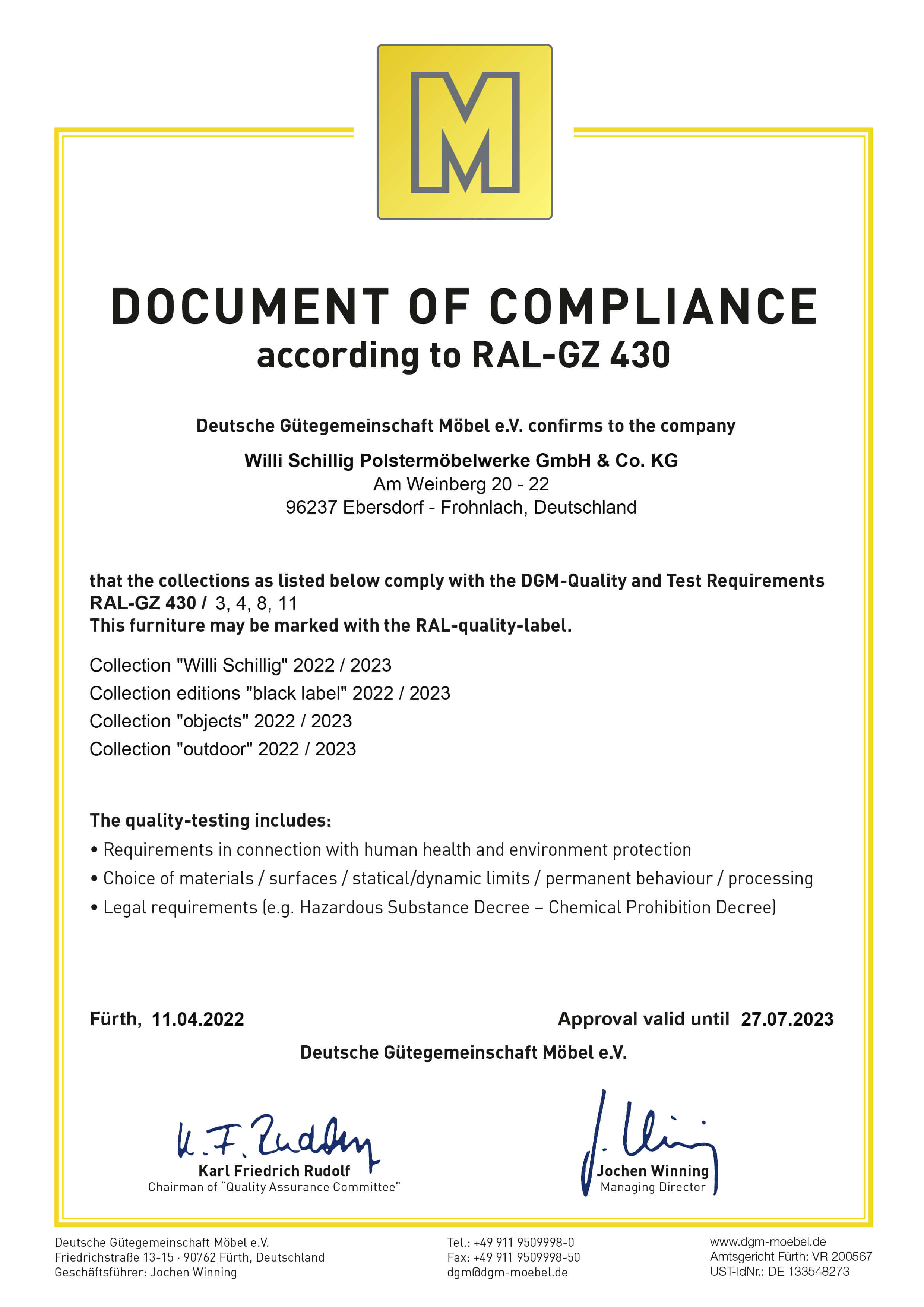Document of compliance